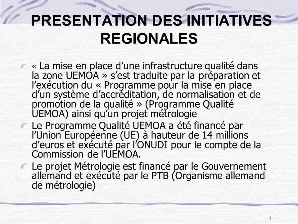 5 PRESENTATION DES INITIATIVES REGIONALES Lobjectif de ces initiatives est la facilitation de la participation des Etats de lUEMOA au commerce régional et international à travers le développement et la mise en place de systèmes daccréditation, de normalisation, de promotion de la qualité et de métrologie