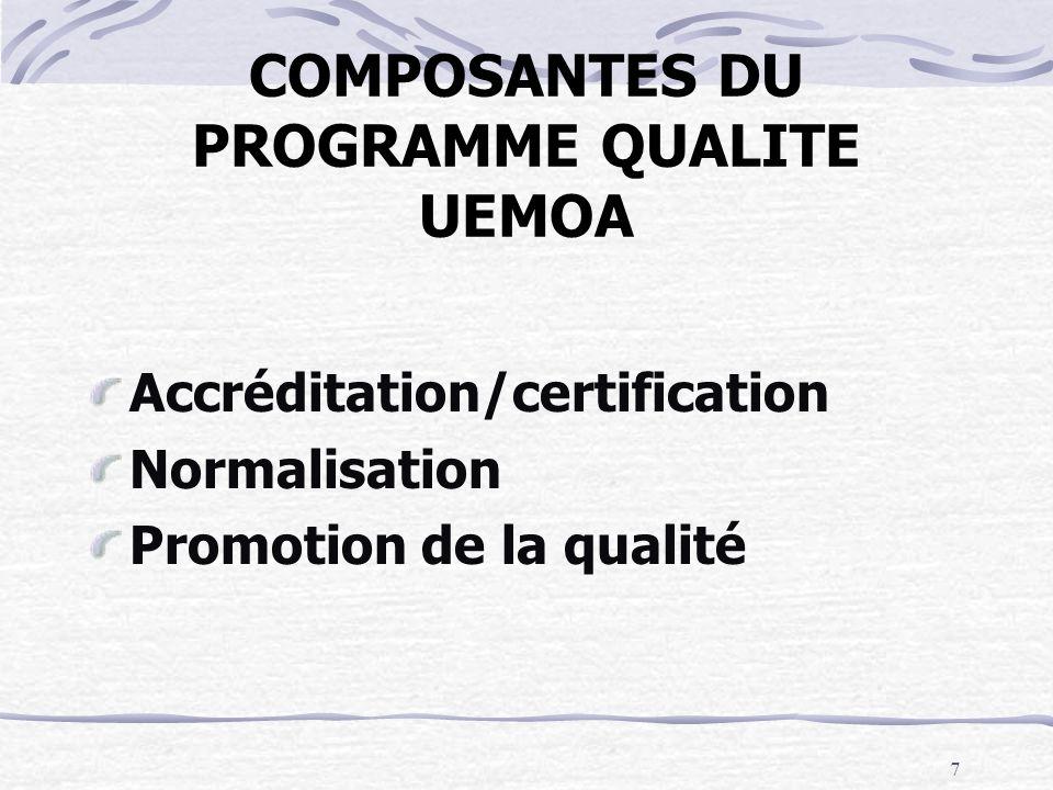 7 COMPOSANTES DU PROGRAMME QUALITE UEMOA Accréditation/certification Normalisation Promotion de la qualité