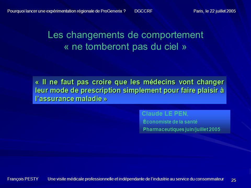 25 Claude LE PEN, Économiste de la santé Pharmaceutiques juin/juillet 2005 Les changements de comportement « ne tomberont pas du ciel » « Il ne faut p