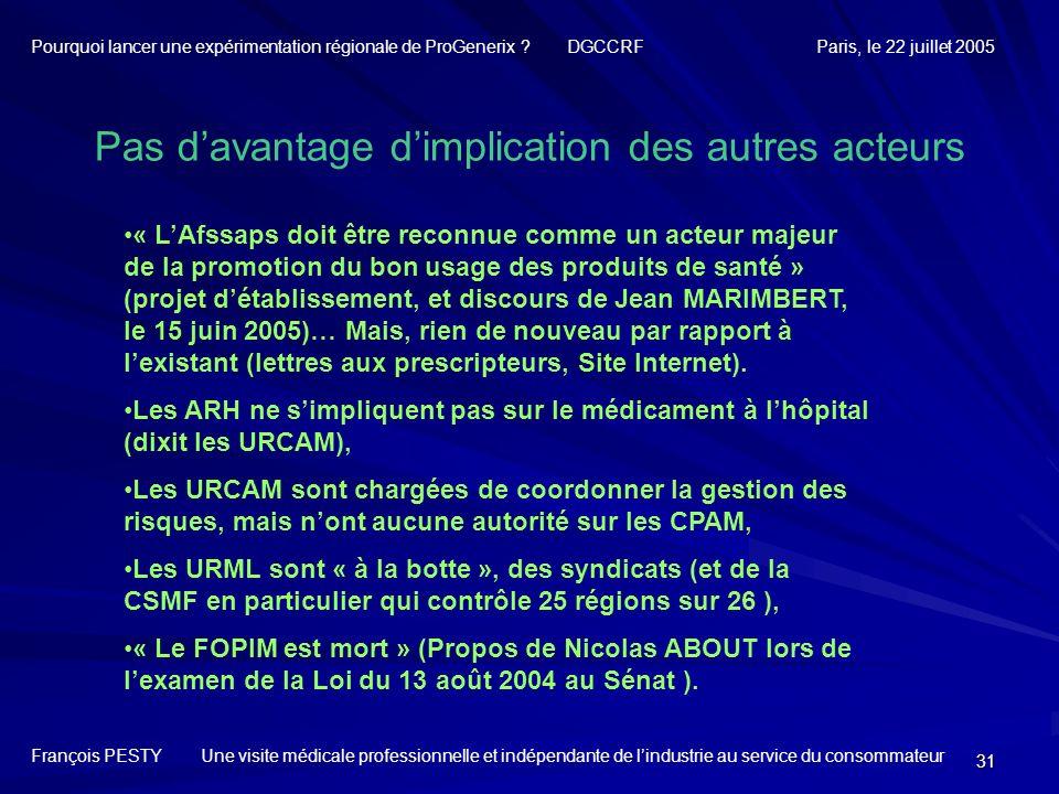 31 Pas davantage dimplication des autres acteurs François PESTY Une visite médicale professionnelle et indépendante de lindustrie au service du consom