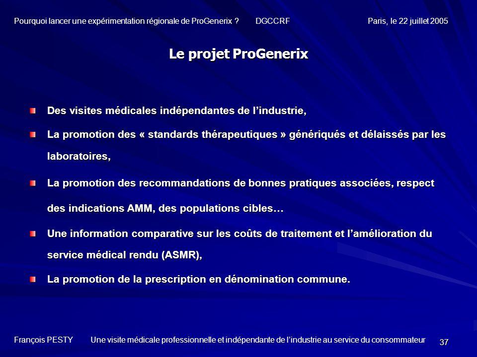37 Des visites médicales indépendantes de lindustrie, La promotion des « standards thérapeutiques » génériqués et délaissés par les laboratoires, La p