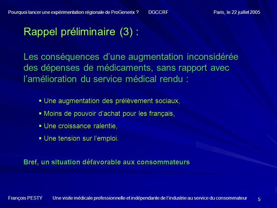 5 Rappel préliminaire (3) : Les conséquences dune augmentation inconsidérée des dépenses de médicaments, sans rapport avec lamélioration du service mé
