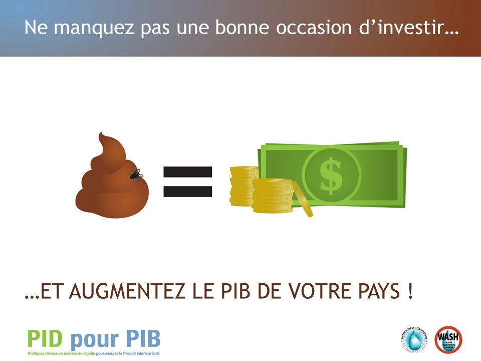 Ne manquez pas une bonne occasion dinvestir… …ET AUGMENTEZ LE PIB DE VOTRE PAYS !