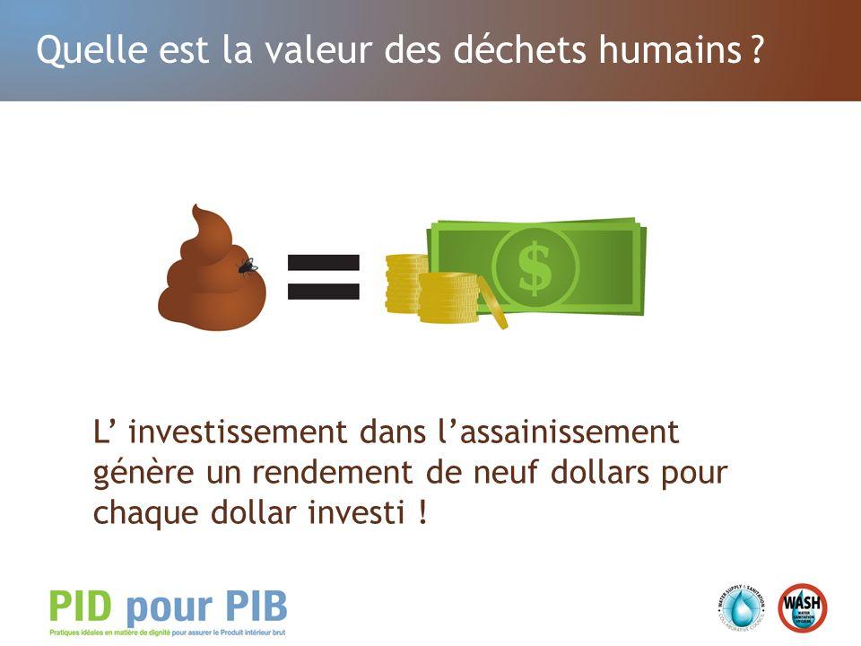 Outre la croissance économique … Les investissements dans lassainissement et lhygiène permettent dassurer la dignité de la population.