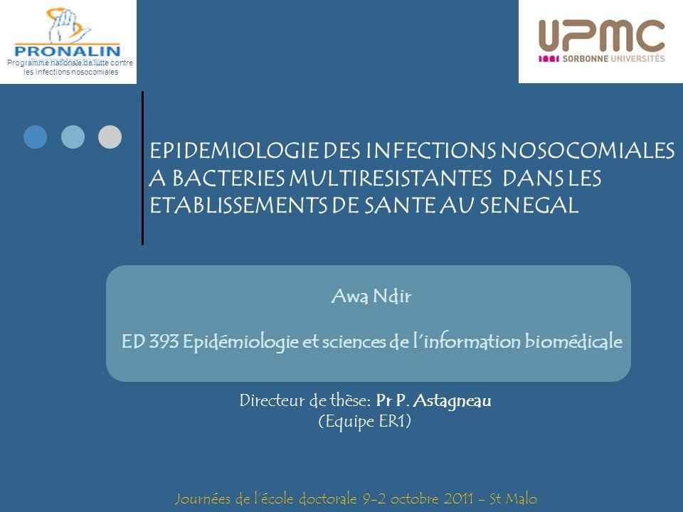 EPIDEMIOLOGIE DES INFECTIONS NOSOCOMIALES A BACTERIES MULTIRESISTANTES DANS LES ETABLISSEMENTS DE SANTE AU SENEGAL Programme nationale de lutte contre