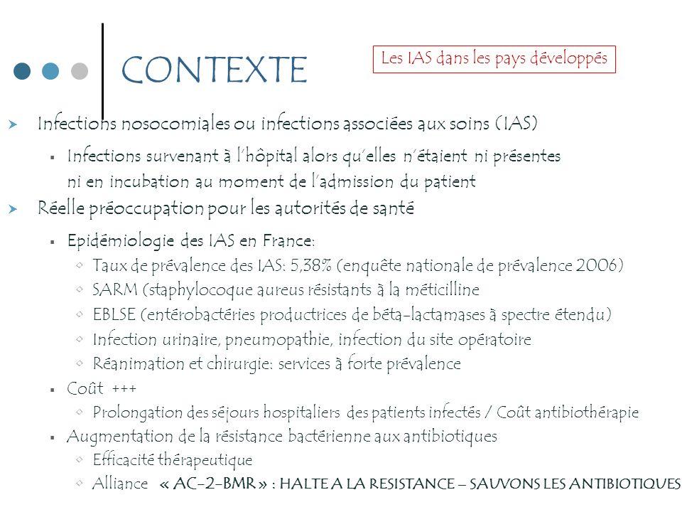 CONTEXTE Infections nosocomiales ou infections associées aux soins (IAS) Infections survenant à lhôpital alors quelles nétaient ni présentes ni en inc