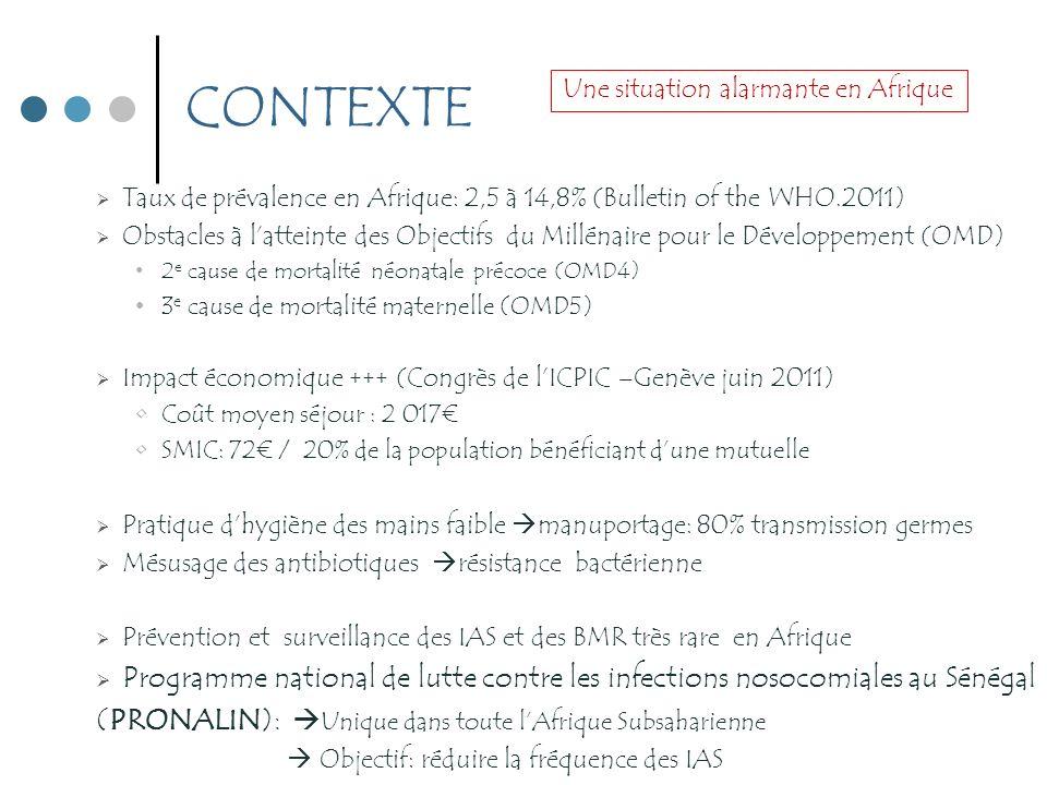 CONTEXTE Taux de prévalence en Afrique: 2,5 à 14,8% (Bulletin of the WHO.2011) Obstacles à latteinte des Objectifs du Millénaire pour le Développement