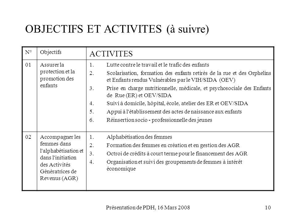 Présentation de PDH, 16 Mars 200810 OBJECTIFS ET ACTIVITES (à suivre) N°Objectifs ACTIVITES 01Assurer la protection et la promotion des enfants 1.Lutt