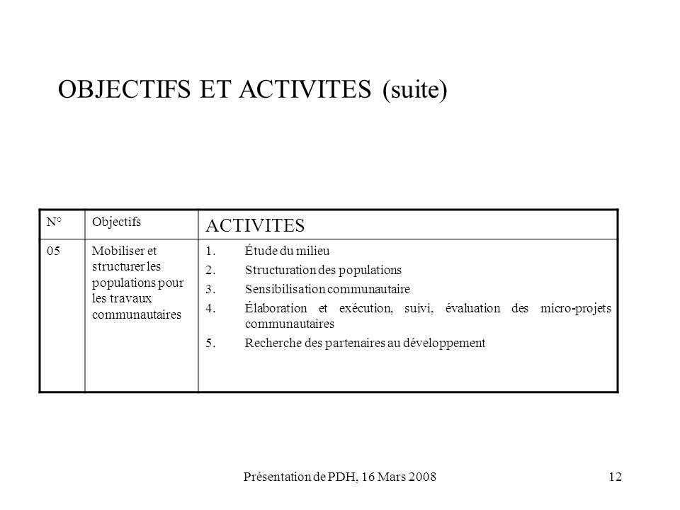 Présentation de PDH, 16 Mars 200812 OBJECTIFS ET ACTIVITES (suite) N°Objectifs ACTIVITES 05Mobiliser et structurer les populations pour les travaux co