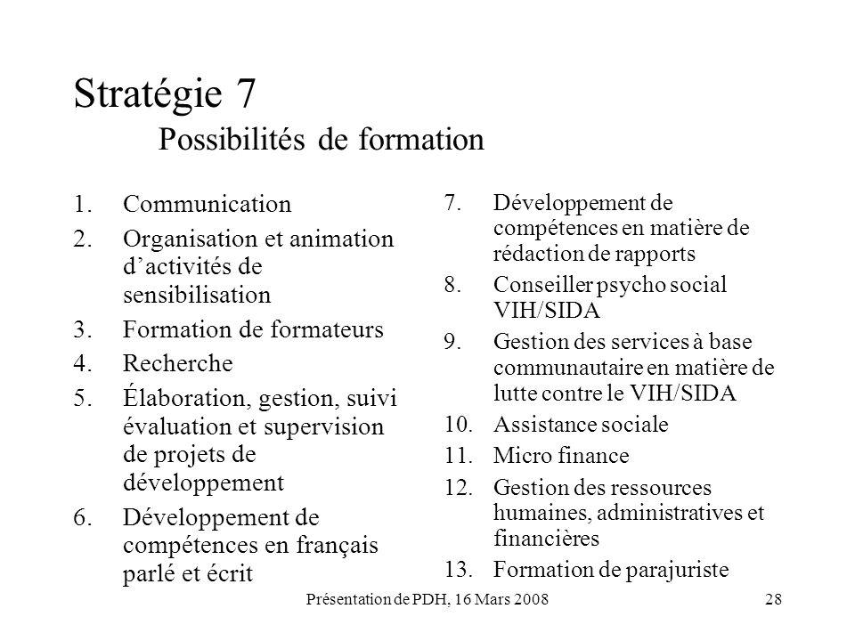 Présentation de PDH, 16 Mars 200828 Stratégie 7 Possibilités de formation 1.Communication 2.Organisation et animation dactivités de sensibilisation 3.