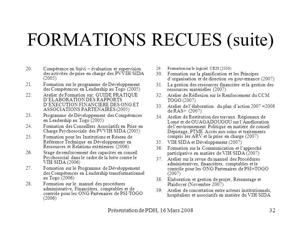 Présentation de PDH, 16 Mars 200832 FORMATIONS RECUES (suite) 20.Compétence en Suivi – évaluation et supervision des activités de prise en charge des