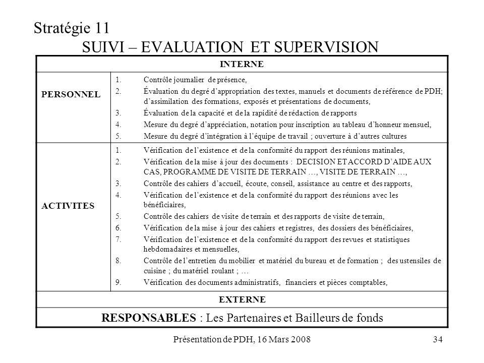 Présentation de PDH, 16 Mars 200834 Stratégie 11 SUIVI – EVALUATION ET SUPERVISION INTERNE PERSONNEL 1.Contrôle journalier de présence, 2.Évaluation d