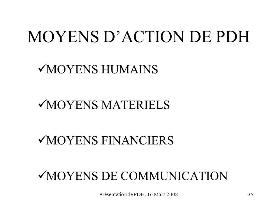 Présentation de PDH, 16 Mars 200835 MOYENS DACTION DE PDH MOYENS HUMAINS MOYENS MATERIELS MOYENS FINANCIERS MOYENS DE COMMUNICATION