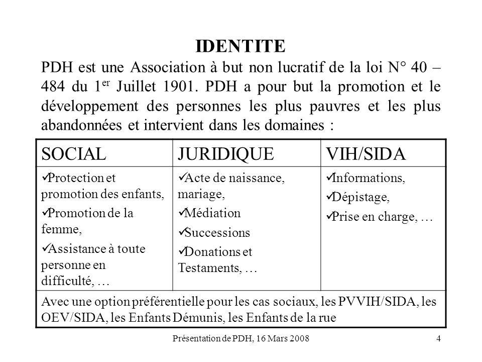 Présentation de PDH, 16 Mars 20084 IDENTITE PDH est une Association à but non lucratif de la loi N° 40 – 484 du 1 er Juillet 1901. PDH a pour but la p