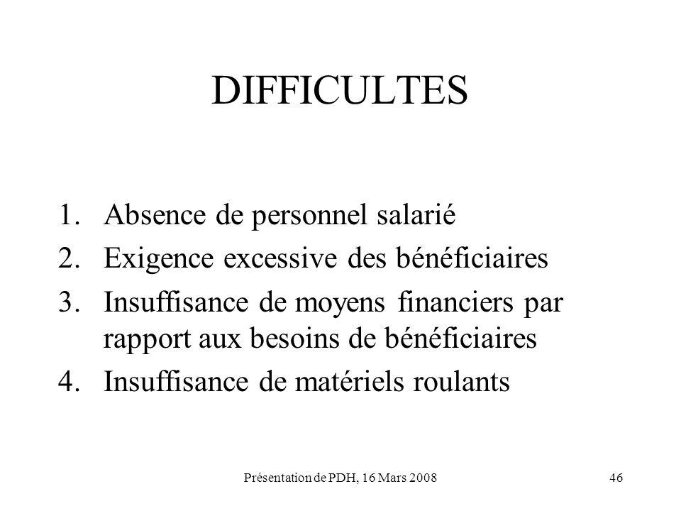 Présentation de PDH, 16 Mars 200846 DIFFICULTES 1.Absence de personnel salarié 2.Exigence excessive des bénéficiaires 3.Insuffisance de moyens financi