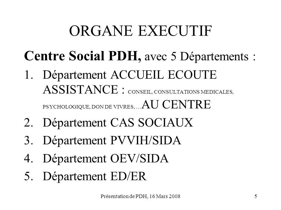 Présentation de PDH, 16 Mars 20085 ORGANE EXECUTIF Centre Social PDH, avec 5 Départements : 1.Département ACCUEIL ECOUTE ASSISTANCE : CONSEIL, CONSULT