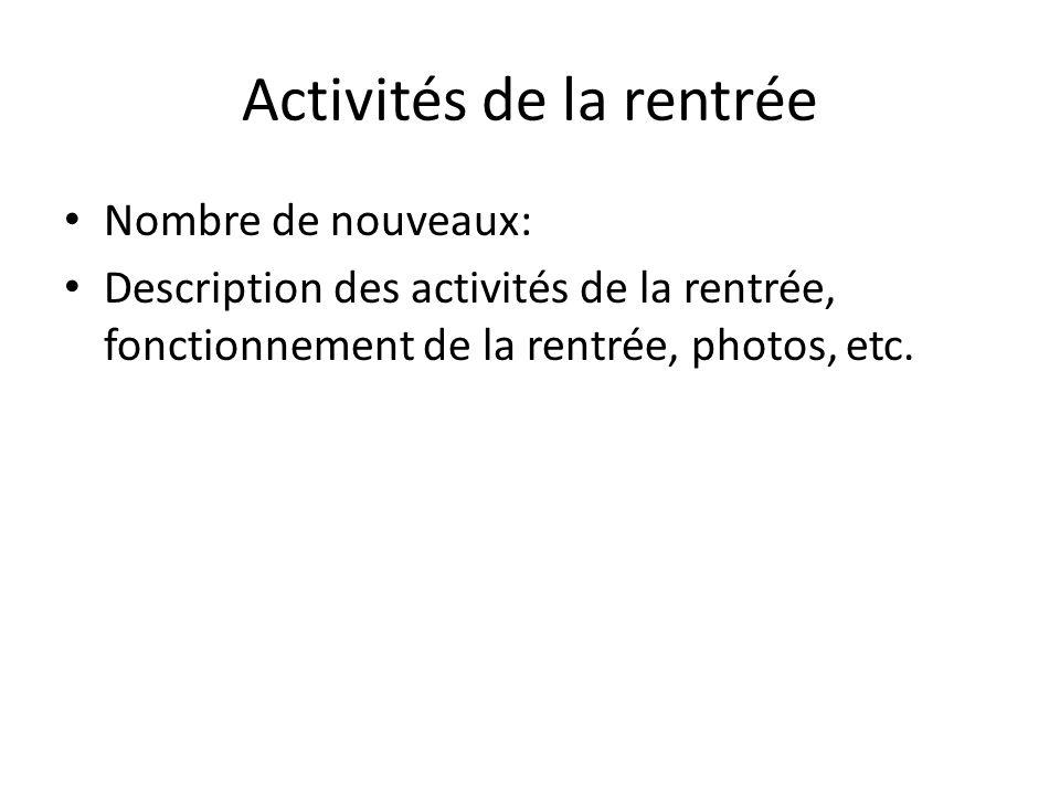 Activités de la rentrée Nombre de nouveaux: Description des activités de la rentrée, fonctionnement de la rentrée, photos, etc.