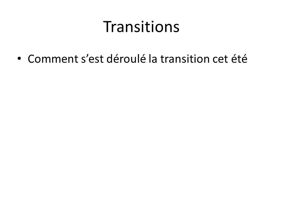 Transitions Comment sest déroulé la transition cet été