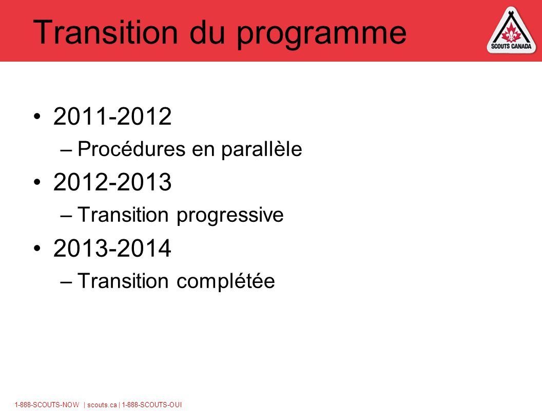 1-888-SCOUTS-NOW | scouts.ca | 1-888-SCOUTS-OUI Transition du programme 2011-2012 –Procédures en parallèle 2012-2013 –Transition progressive 2013-2014