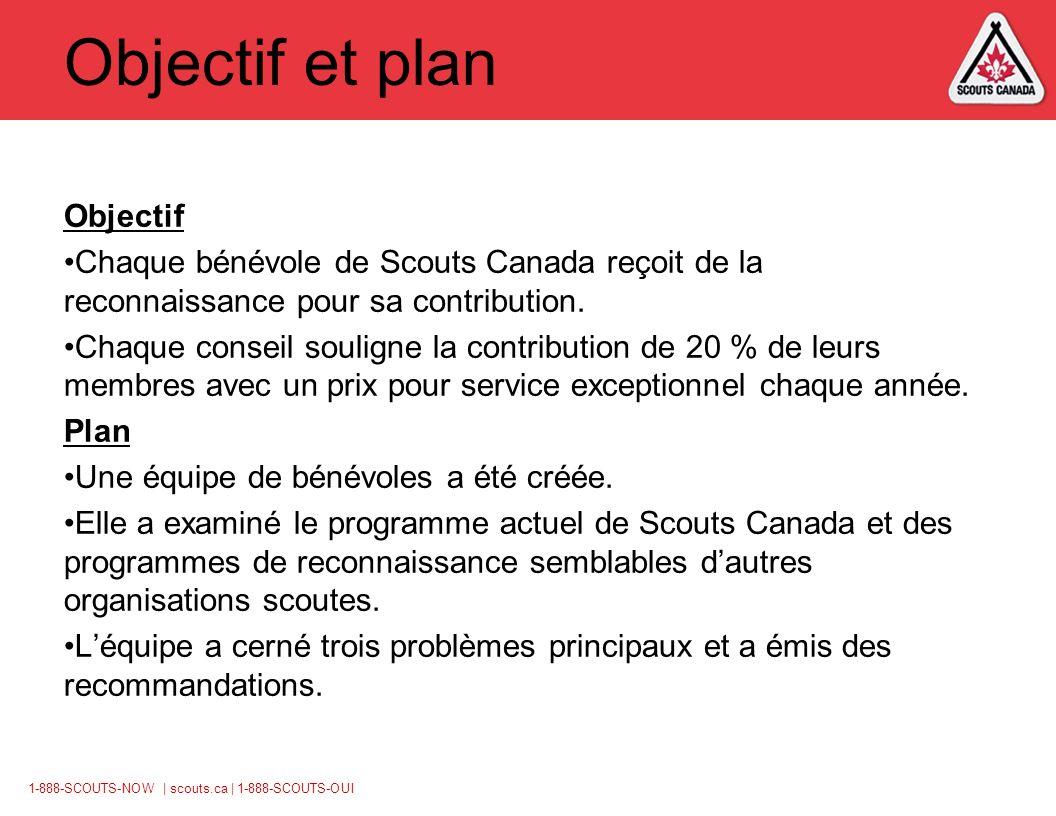 1-888-SCOUTS-NOW | scouts.ca | 1-888-SCOUTS-OUI Objectif et plan Objectif Chaque bénévole de Scouts Canada reçoit de la reconnaissance pour sa contribution.