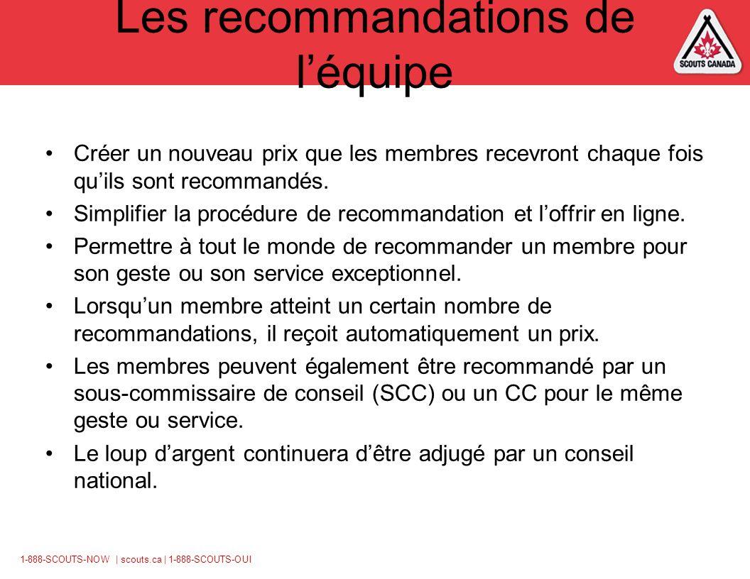 1-888-SCOUTS-NOW | scouts.ca | 1-888-SCOUTS-OUI Les recommandations de léquipe Créer un nouveau prix que les membres recevront chaque fois quils sont recommandés.