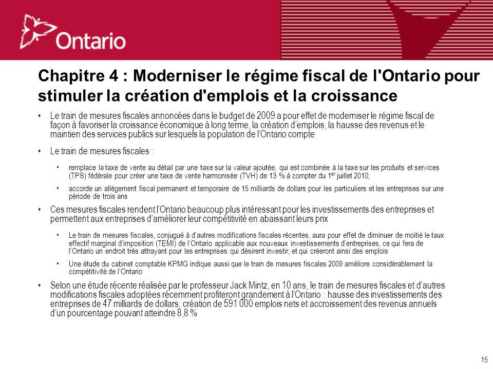 15 Chapitre 4 : Moderniser le régime fiscal de l Ontario pour stimuler la création d emplois et la croissance Le train de mesures fiscales annoncées dans le budget de 2009 a pour effet de moderniser le régime fiscal de façon à favoriser la croissance économique à long terme, la création demplois, la hausse des revenus et le maintien des services publics sur lesquels la population de lOntario compte Le train de mesures fiscales : remplace la taxe de vente au détail par une taxe sur la valeur ajoutée, qui est combinée à la taxe sur les produits et services (TPS) fédérale pour créer une taxe de vente harmonisée (TVH) de 13 % à compter du 1 er juillet 2010; accorde un allégement fiscal permanent et temporaire de 15 milliards de dollars pour les particuliers et les entreprises sur une période de trois ans Ces mesures fiscales rendent lOntario beaucoup plus intéressant pour les investissements des entreprises et permettent aux entreprises daméliorer leur compétitivité en abaissant leurs prix Le train de mesures fiscales, conjugué à dautres modifications fiscales récentes, aura pour effet de diminuer de moitié le taux effectif marginal dimposition (TEMI) de lOntario applicable aux nouveaux investissements dentreprises, ce qui fera de lOntario un endroit très attrayant pour les entreprises qui désirent investir, et qui créeront ainsi des emplois Une étude du cabinet comptable KPMG indique aussi que le train de mesures fiscales 2009 améliore considérablement la compétitivité de lOntario Selon une étude récente réalisée par le professeur Jack Mintz, en 10 ans, le train de mesures fiscales et dautres modifications fiscales adoptées récemment profiteront grandement à lOntario : hausse des investissements des entreprises de 47 milliards de dollars, création de 591 000 emplois nets et accroissement des revenus annuels dun pourcentage pouvant atteindre 8,8 %