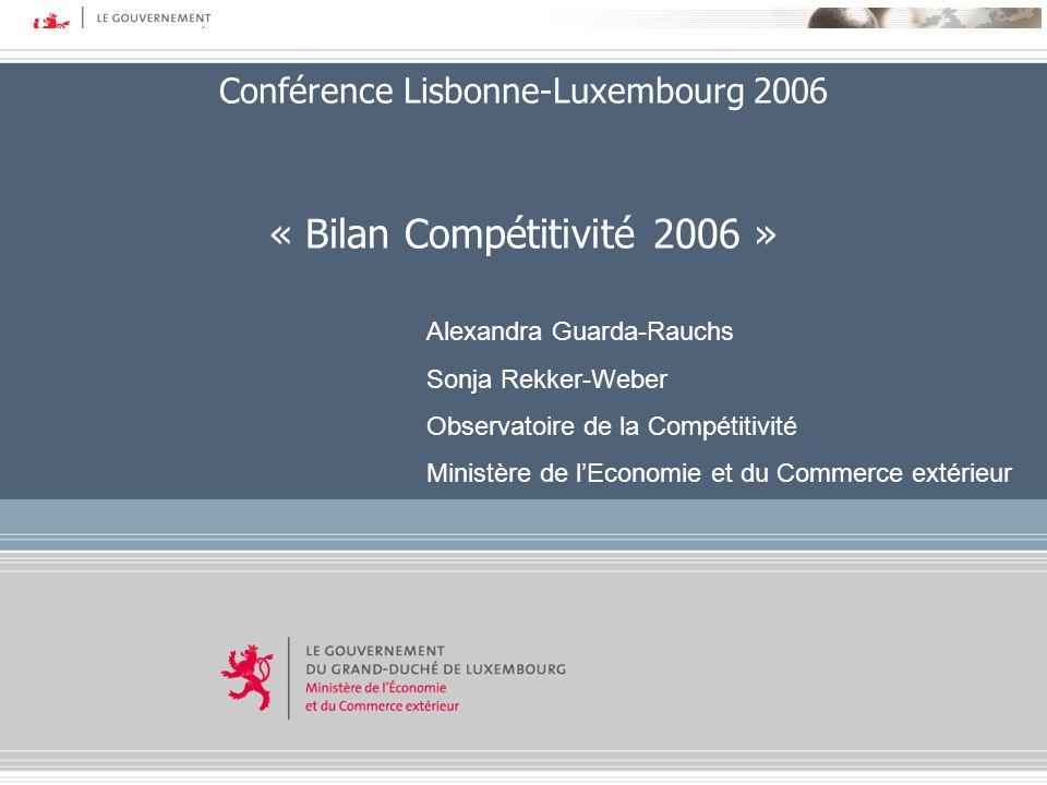 Copyright © 2006 Ministère de lEconomie et du Commerce extérieur – DG Etudes Economiques Conférence Lisbonne-Luxembourg 2006 « Bilan Compétitivité 200