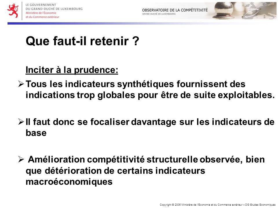 Copyright © 2006 Ministère de lEconomie et du Commerce extérieur – DG Etudes Economiques Que faut-il retenir .
