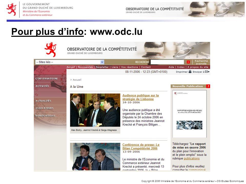 Copyright © 2006 Ministère de lEconomie et du Commerce extérieur – DG Etudes Economiques Pour plus dinfo: www.odc.lu
