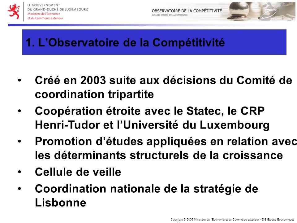 Copyright © 2006 Ministère de lEconomie et du Commerce extérieur – DG Etudes Economiques Créé en 2003 suite aux décisions du Comité de coordination tr