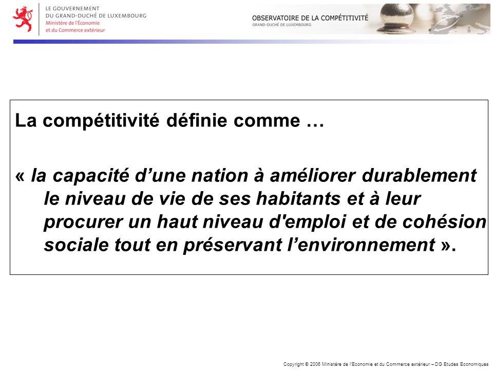 Copyright © 2006 Ministère de lEconomie et du Commerce extérieur – DG Etudes Economiques La compétitivité définie comme … « la capacité dune nation à