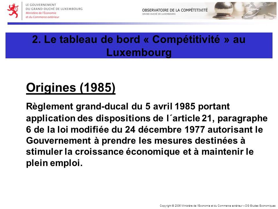 Copyright © 2006 Ministère de lEconomie et du Commerce extérieur – DG Etudes Economiques Origines (1985) Règlement grand-ducal du 5 avril 1985 portant