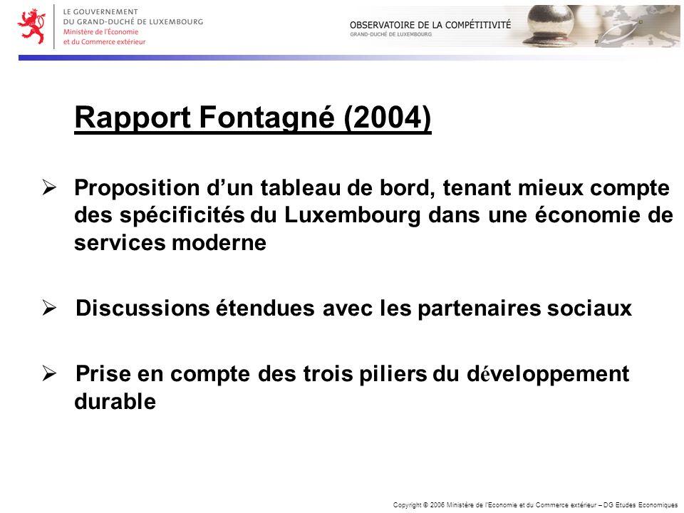 Copyright © 2006 Ministère de lEconomie et du Commerce extérieur – DG Etudes Economiques Rapport Fontagné (2004) Proposition dun tableau de bord, tena