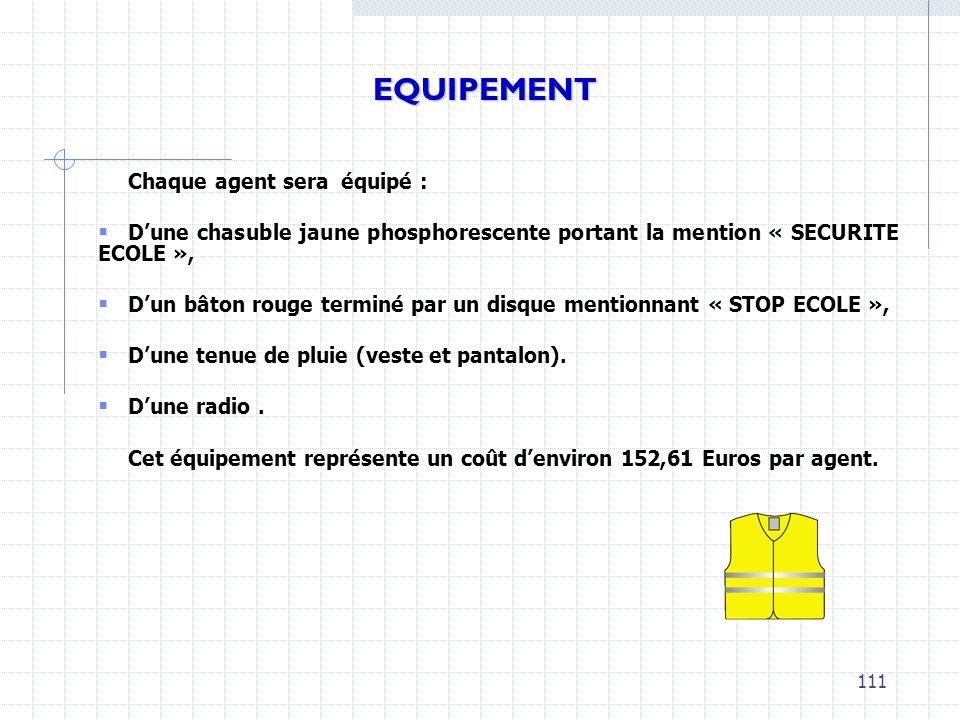 Chaque agent sera équipé : Dune chasuble jaune phosphorescente portant la mention « SECURITE ECOLE », Dun bâton rouge terminé par un disque mentionnan