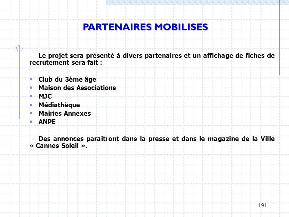 Le projet sera présenté à divers partenaires et un affichage de fiches de recrutement sera fait : Club du 3ème âge Maison des Associations MJC Médiath