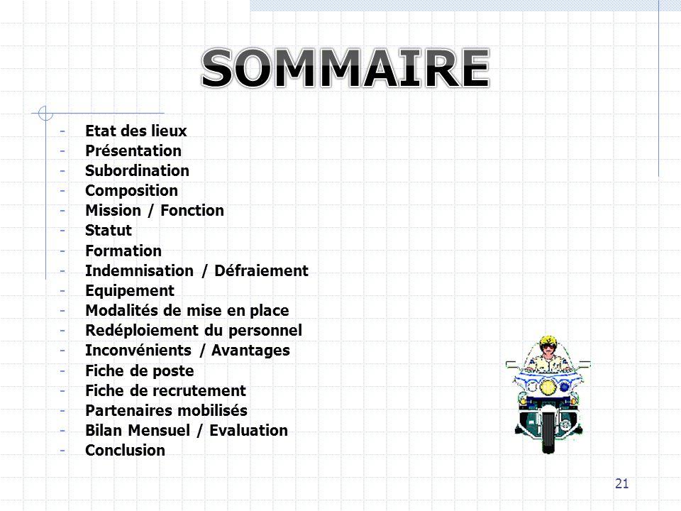 - Etat des lieux - Présentation - Subordination - Composition - Mission / Fonction - Statut - Formation - Indemnisation / Défraiement - Equipement - M