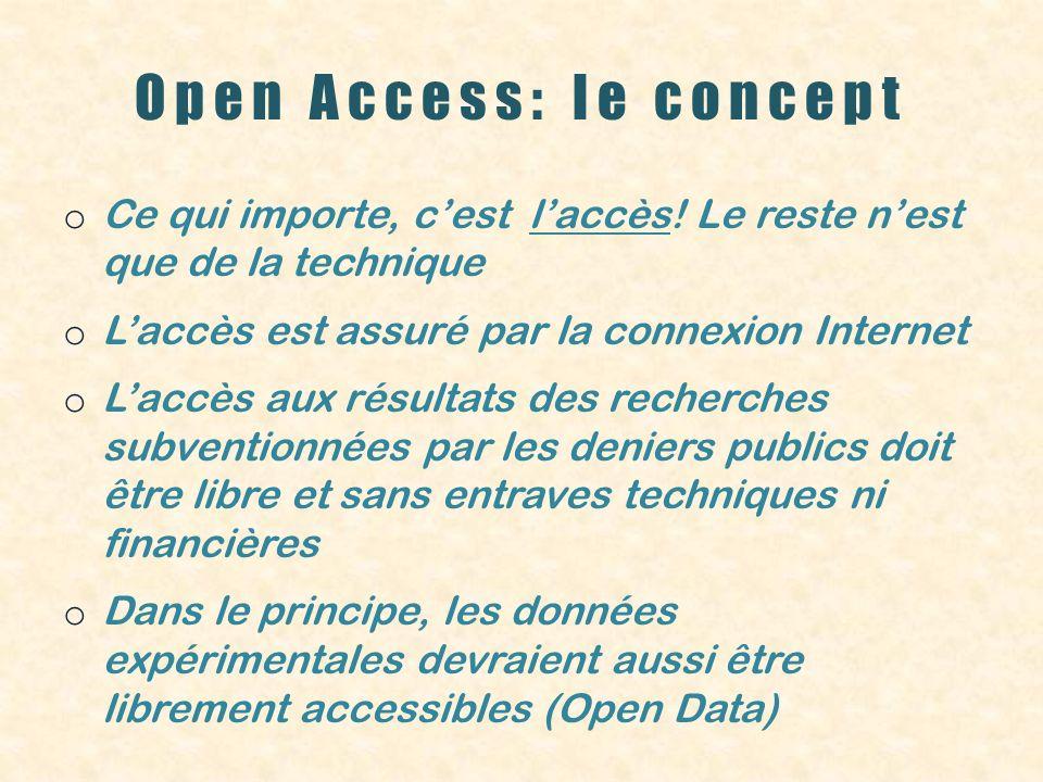 Open Access: le concept o Ce qui importe, cest laccès! Le reste nest que de la technique o Laccès est assuré par la connexion Internet o Laccès aux ré