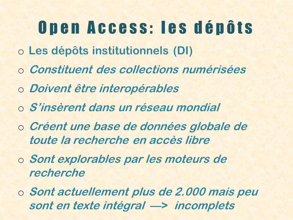 Open Access: les dépôts o Les dépôts institutionnels (DI) o Constituent des collections numérisées o Doivent être interopérables o Sinsèrent dans un r