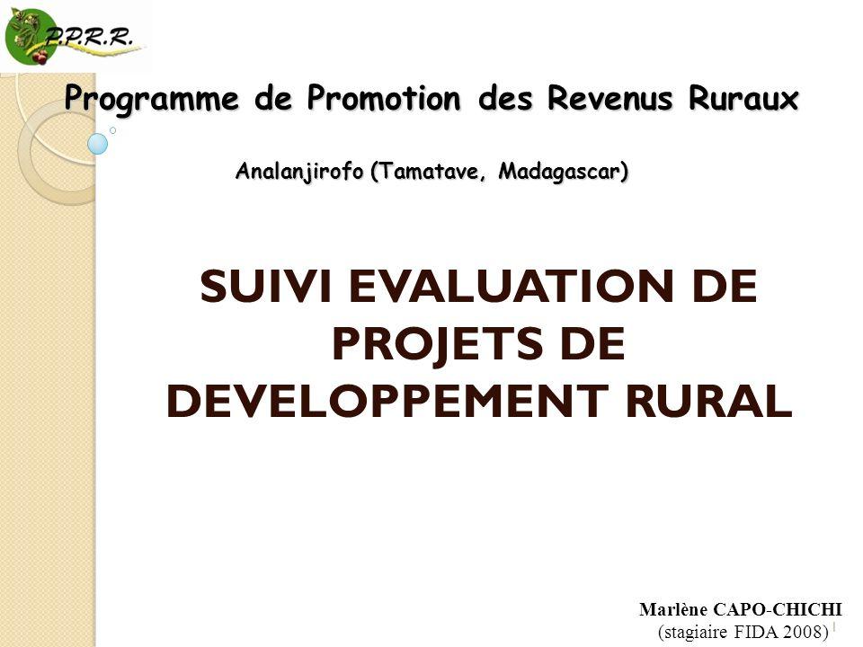 Programme de Promotion des Revenus Ruraux Analanjirofo (Tamatave, Madagascar) SUIVI EVALUATION DE PROJETS DE DEVELOPPEMENT RURAL Marlène CAPO-CHICHI (