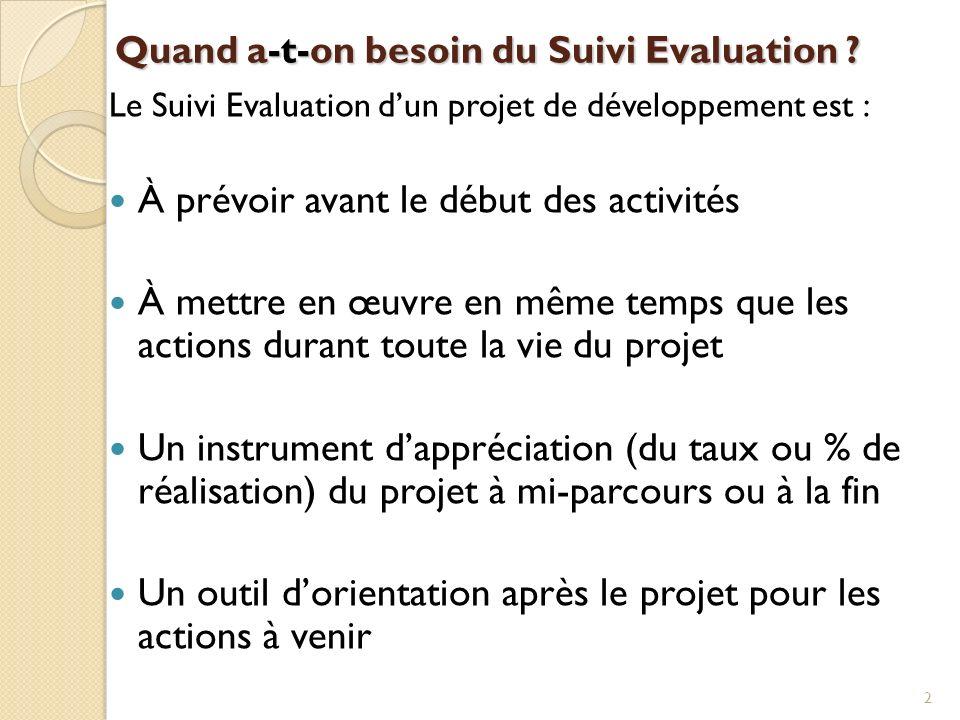 Quand a-t-on besoin du Suivi Evaluation ? Le Suivi Evaluation dun projet de développement est : À prévoir avant le début des activités À mettre en œuv