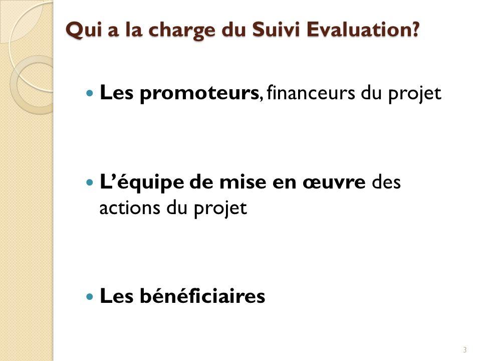 Qui a la charge du Suivi Evaluation? Les promoteurs, financeurs du projet Léquipe de mise en œuvre des actions du projet Les bénéficiaires 3