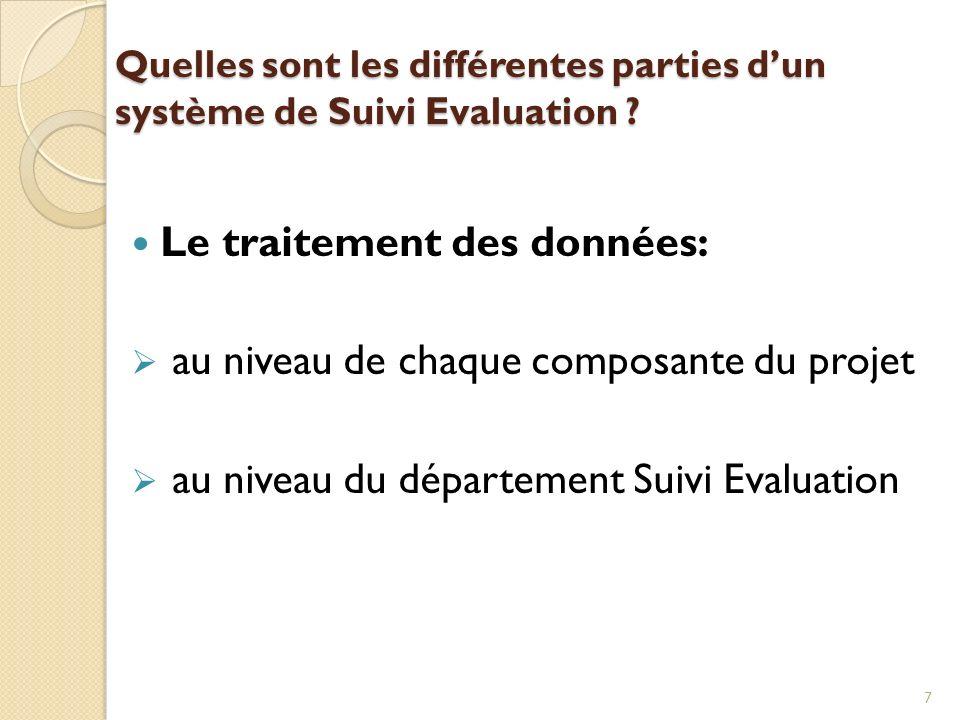 Quelles sont les différentes parties dun système de Suivi Evaluation ? Le traitement des données: au niveau de chaque composante du projet au niveau d