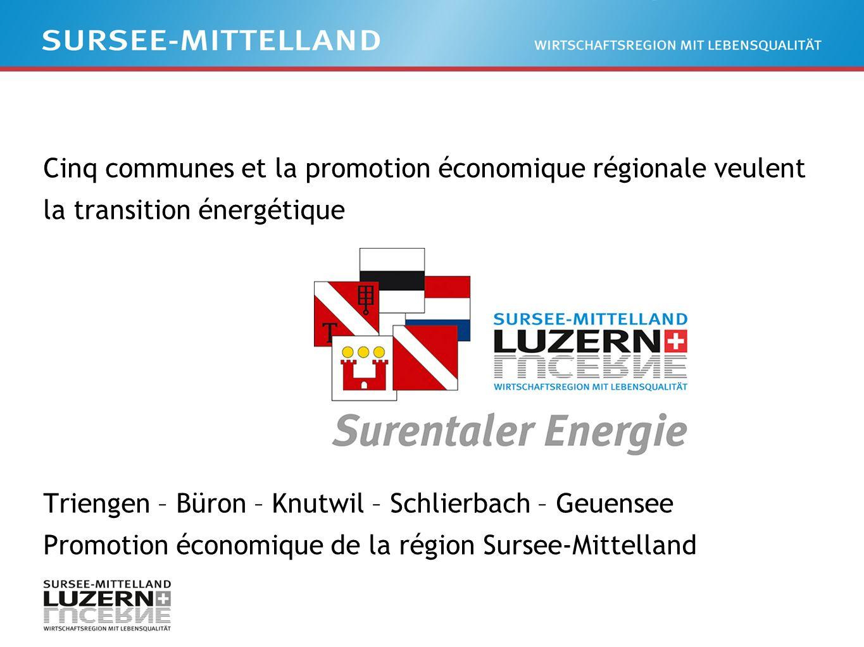 Cinq communes et la promotion économique régionale veulent la transition énergétique Triengen – Büron – Knutwil – Schlierbach – Geuensee Promotion économique de la région Sursee-Mittelland