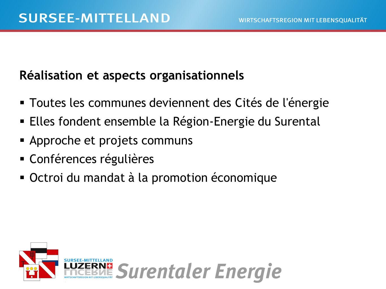 Réalisation et aspects organisationnels Toutes les communes deviennent des Cités de l énergie Elles fondent ensemble la Région-Energie du Surental Approche et projets communs Conférences régulières Octroi du mandat à la promotion économique