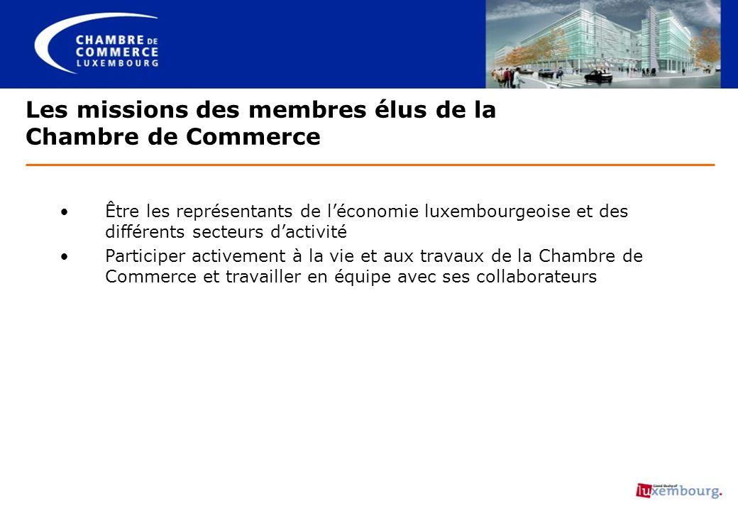 Les missions des membres élus de la Chambre de Commerce Être les représentants de léconomie luxembourgeoise et des différents secteurs dactivité Parti