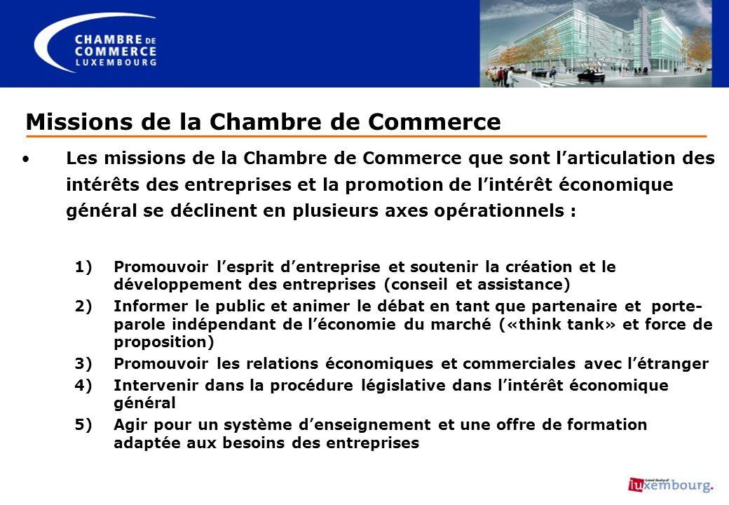 Missions de la Chambre de Commerce Les missions de la Chambre de Commerce que sont larticulation des intérêts des entreprises et la promotion de linté