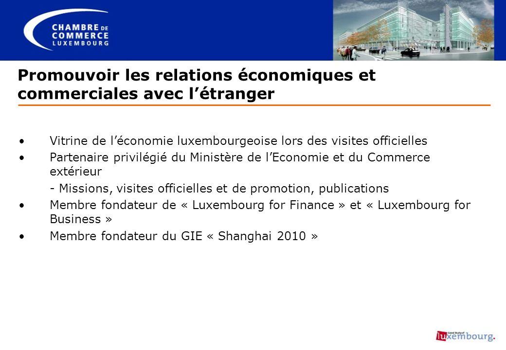 Promouvoir les relations économiques et commerciales avec létranger Vitrine de léconomie luxembourgeoise lors des visites officielles Partenaire privi
