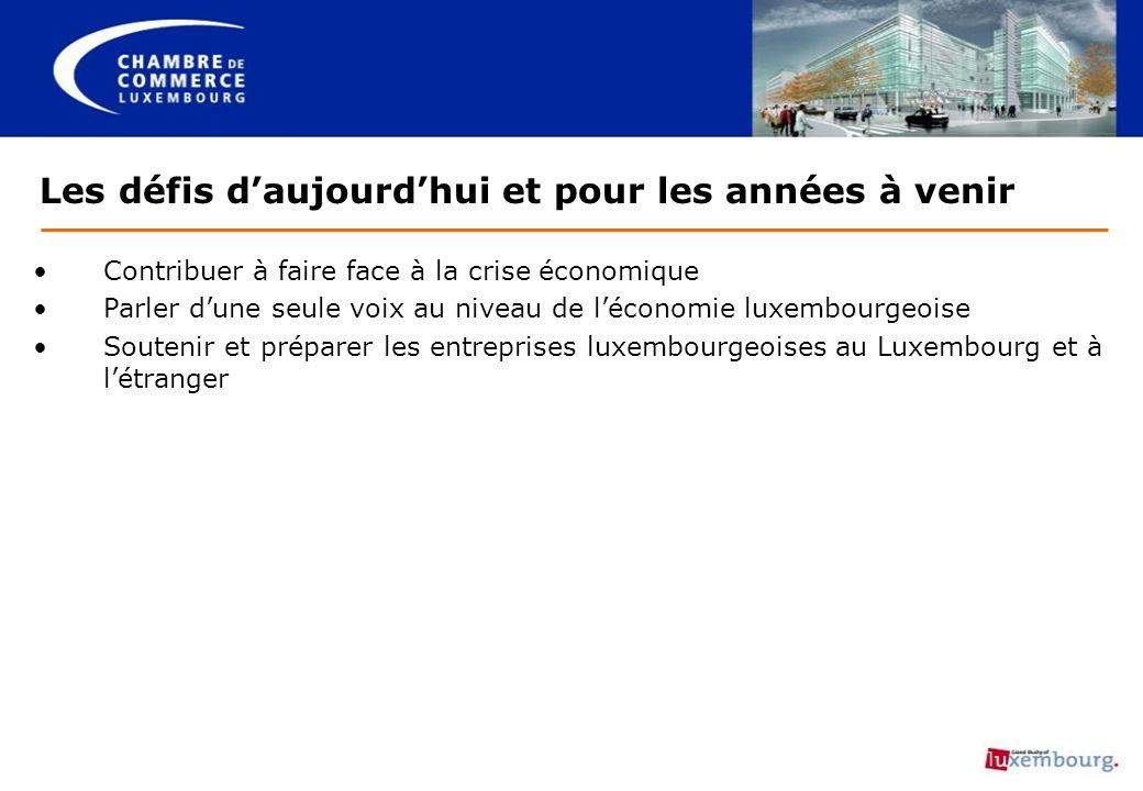 Les défis daujourdhui et pour les années à venir Contribuer à faire face à la crise économique Parler dune seule voix au niveau de léconomie luxembour