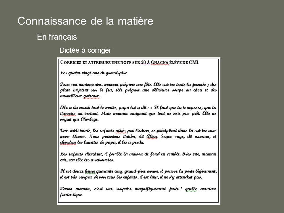 Connaissance de la matière En français Dictée à corriger