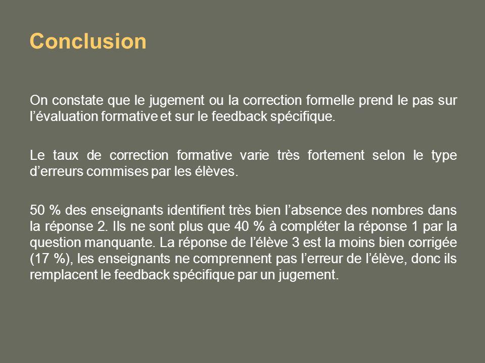Conclusion On constate que le jugement ou la correction formelle prend le pas sur lévaluation formative et sur le feedback spécifique.